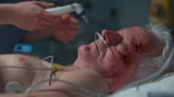 Nurse measuring intensive care patient's temperature video