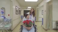 Nurse Pushing Patient In Wheelchair In Hospital video