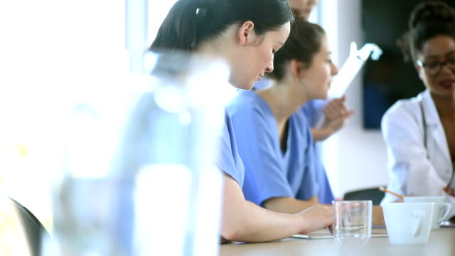 nurse team meeting in a hospital video