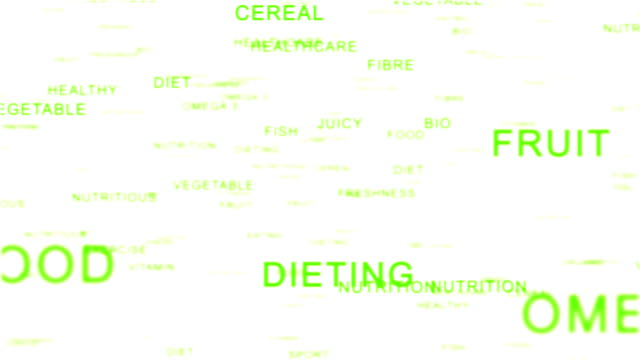 Nutrition Words forming Apple against white, Healthy Eating video