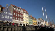 Nyhavn in Copenhagen - Low level wide shot video