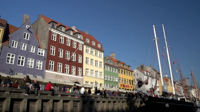 Nyhavn in Copenhagen - Low level wide shot video