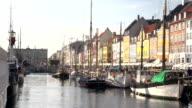 Nyhavn in Copenhagen - Wide shot with boats video