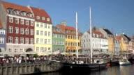 Nyhavn in Copenhagen - Wide shot with tourists video