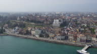 Nyon old town and lake Geneva by aerial view video