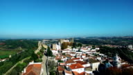 Obidos Portugal aerial panoramic view video
