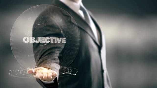 Objective with hologram businessman concept video