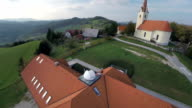 Observatory near to church in a countryside video