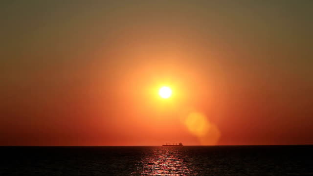 HD: Ocean At Sunset and Ship video
