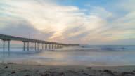 Ocean Beach Pier Sunset in San Diego, California, time lapse video