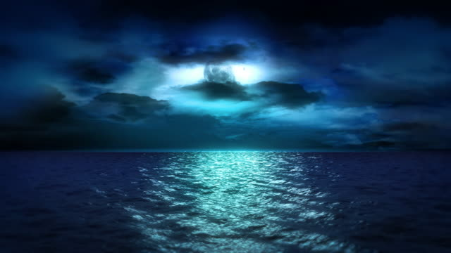 Ocean Moonlight and Clouds (Loop) video