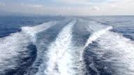 Ocean Wake Smoke Behind Large Ship HD video