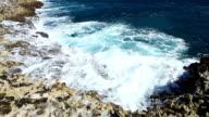Ocean wave splash on the reef video video