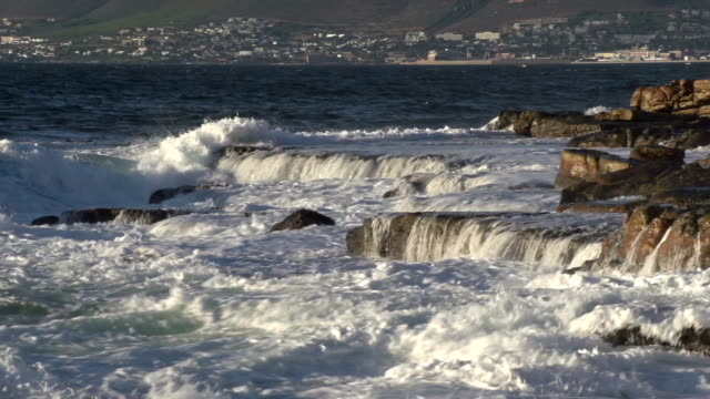 Ocean waves crashing on seashore rocks, Cape Town,South Africa video