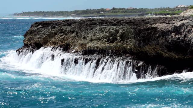 Ocean waves crushing coastline video