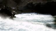 Ocean Waves Flowing by Coastal Rocks video
