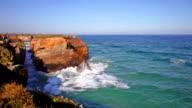 Ocean waves rolling on rocks, rapid video