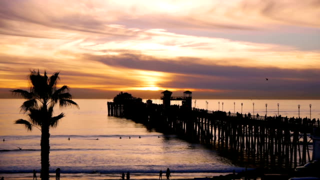 Oceanside Pier At Sunset California video
