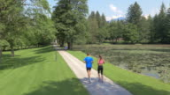 AERIAL Couple running in the park along a lake video