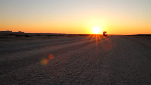 Off Road Car In Namibia At Sunset video