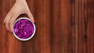 Offering chopped red cabbage video