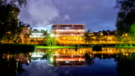 Office Building at Night Time Lapse video