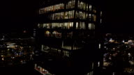 AERIAL: Office building at night video