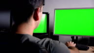 Office Desk Green Screens video