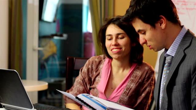 Office flirt man woman in suit flirting work relationships laugh video