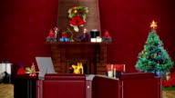 Office with Christmas decorations, seamless loop video