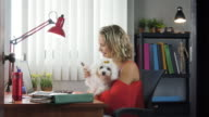 Office Woman Holding Dog During Skype Conference Call video