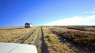 Off-road driving through Macedonian plateau at high mountain peak video