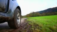 HD Off-road vehicle driving through mud POV video