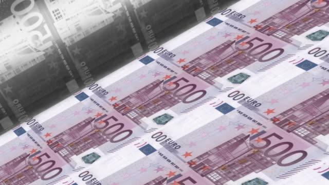 Offset Printing euro banknotes (500 dollar bill sheet). video