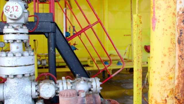 Offshore gas and oil production platform equipment video