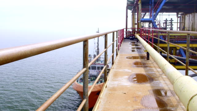 Offshore gas production platform processing equipment video