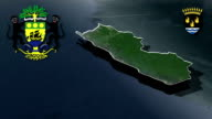 Ogooue-Maritime - Port-Gentil whit Coat of arms animation map video