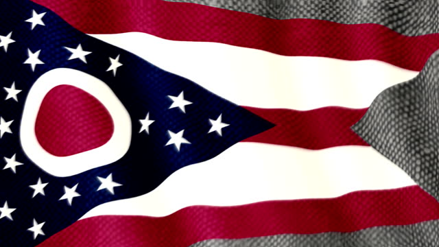Ohio flag waving animation video