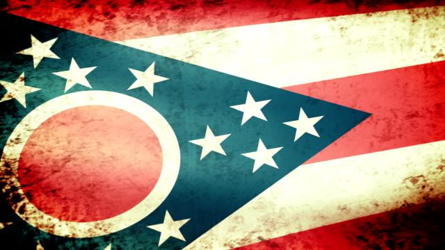 Ohio State Flag Waving, grunge look video