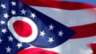 Ohio state flag waving in the wind - CU video