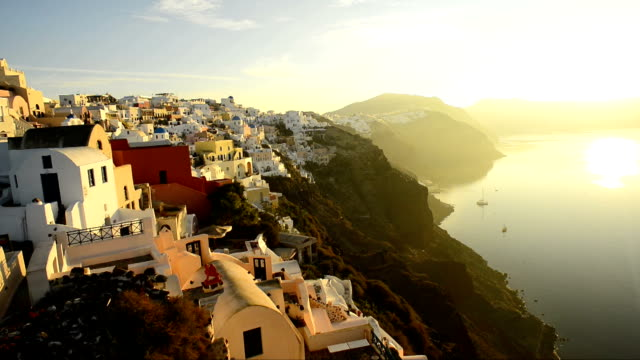 Oia, Santorini, Greece at sunrise video