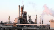 Oil and gas refinery - factory smoke stack - Time lapse video
