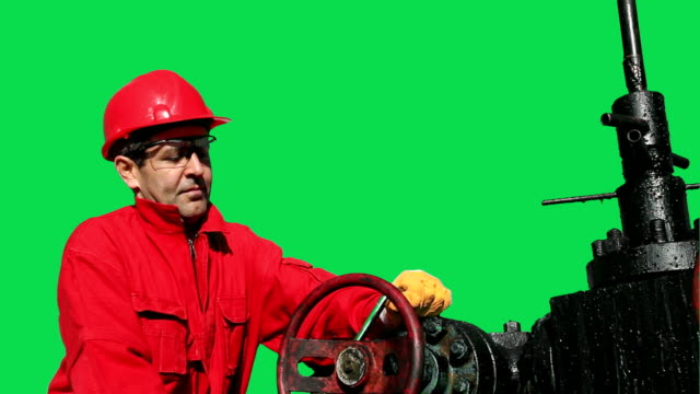 Oil and Gas Worker Green Screen video