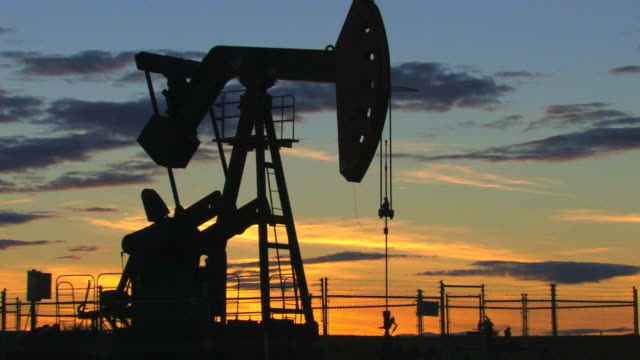Oil at sunset video