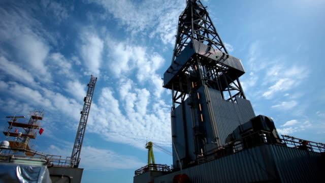 oil drill platform sailing under sky video