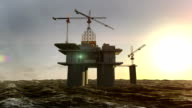 Oil drilling, oil platform in the sea at sunset. video