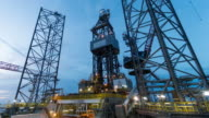 oil drilling rig 4k time lapse dusk to night video