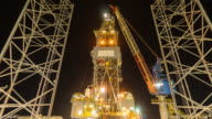 oil drilling rig 4k time lapse night time video