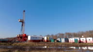 Oil drilling rig in field video