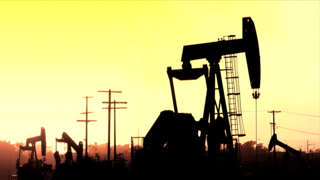 Oil Field Sunset Silhouette video